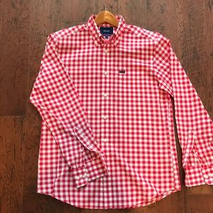 Faconnable red and white checkered button down